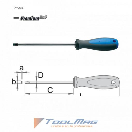 Surubelnita lata pentru electricieni maner trimaterial TBI, cromata - 602TBI