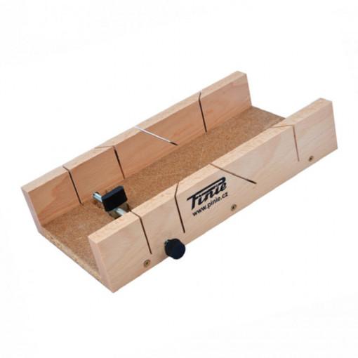 Cutie sablon din lemn cu 1 surub reglaj pentru taiere la 45°/90° - 27-300653819 - PINIE