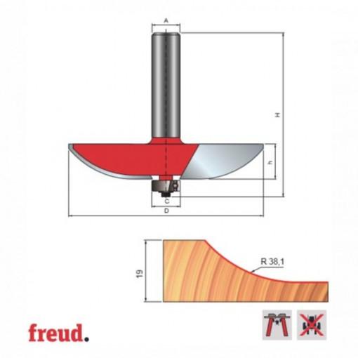 Freza pentru tablii, profil convex, placata CMS Z2, cu coada si rulment copier inferior - 99-22512P - FREUD Italia