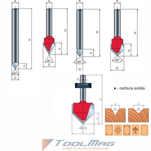 Freza profilata in V pentru gravura, placata CMS, cu coada, Z1, Z2, Z3 - 20-