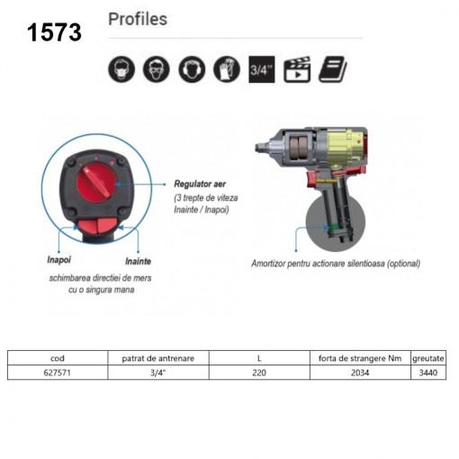"Pistol pneumatic reversibil de impact cu turatie variabila 3/4"" - 1573"