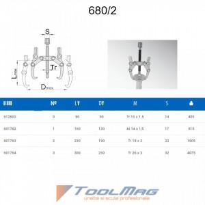 Extractoare rulmenti cu doua brate reglabile - 680/2