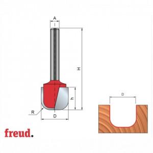 Freza cilindro-frontala cu profil cupa, placata CMS, Z2, cu coada - 19-