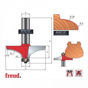 Freza cu profil concav pentru rotunjit, placata CMS Z2, cu coada si rulment copier inferior - 99-02712P
