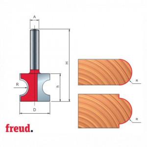 Freza profilata 1/2 concav, placata CMS, Z2, cu coada - 82-