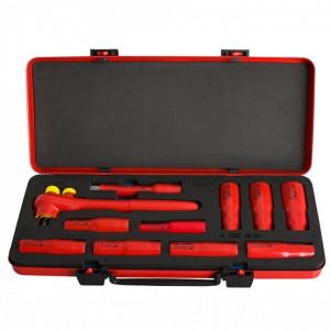 """Set de capete chei tubulare lungi izolate de 1/2 """" în cutie metalica - 190VDE12P11L"""