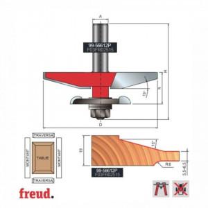 Freza pentru tablii, profil drept, ptr frezare ambele parti, placata CMS Z2, cu coada si rulment copier inferior - 99-56612P