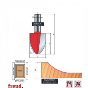 Freza pentru tablii, profil vertical convex, placata CMS Z2, cu coada si rulment copier inferior - 99-32512P