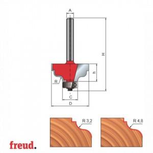 Freza profilata concav convex, cu rulment copier inferior, placata CMS, Z2, cu coada - 38-