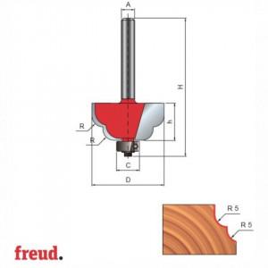 Freza profilata convex convex, cu rulment copier inferior, placata CMS, Z2, cu coada - 38-