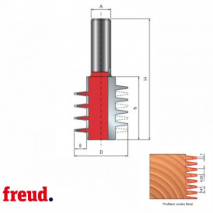 Freza profilata pentru imbinari in dinti, placata CMS, Z2, cu coada - 99-