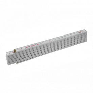 Metru lemn fag 2 m imbinari din plastic si nituri vizibile otel, culoare alb - Block 72 W