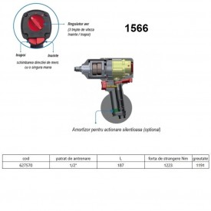 "Pistol pneumatic reversibil de impact cu turatie variabila 1/2"" - 1566"