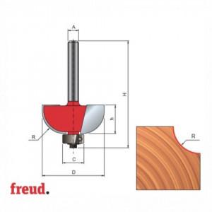 Freza cu coada, profilata convex 1/2C, placata CMS, cu rulment copier inferior - 30-