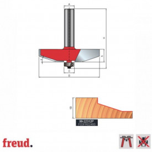Freza pentru tablii, profil drept, placata CMS Z2, cu coada si rulment copier inferior - 99-22312P - FREUD Italia