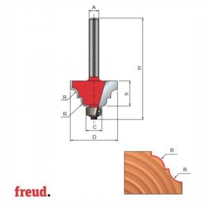 Freza profilata concav convex, cu tesire intre ele, cu rulment copier inferior, placata CMS, Z2 - 38-