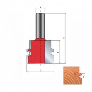 Freza profilata pentru imbinari cu un dinte, placata CMS, Z2, cu coada - 99-
