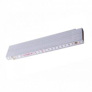 Metru lemn fag 3 m imbinari din plastic si nituri vizibile otel, culoare alb - Block 73 W