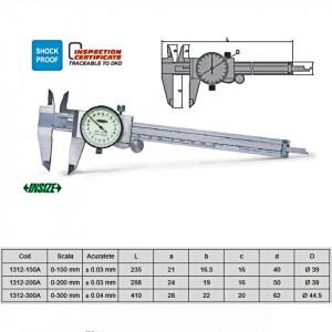 Subler mecanic cu ceas - 1312 - Insize detalii
