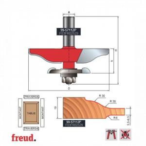 Freza pentru tablii, profil sinusoidal, pentru frezare ambele parti, placata CMS Z2, cu coada si rulment copier inferior - 99-57112P