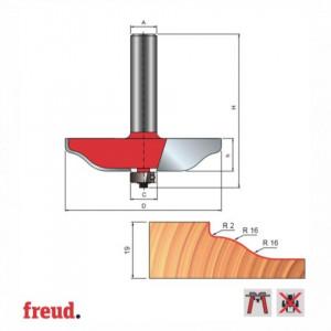 Freza pentru tablii, profil sinusoidal, placata CMS Z2, cu coada si rulment copier inferior - 99-22112P