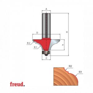 Freza profilat ptr blat masa, cu rulment copier inferior, placata CMS, Z2, cu coada - 99-