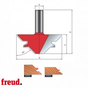 Freza profilata pentru imbinari la 45°, cu un dinte, placata CMS, Z-2 cu coada - 99-