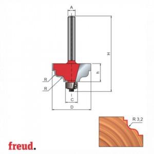 Freza profilata sinusoidal, cu tesire sus si jos, cu rulment copier inferior, placata CMS, Z2, cu coada - 38-