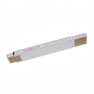 Metru lemn fag 2 m imbinari din otel si nituri ascunse culoare alb - Profi 10 W