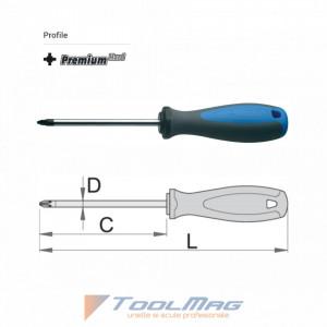 Surubelnita profil Pozidrive (PZ) maner trimaterial TBI, cromat - 625TBI