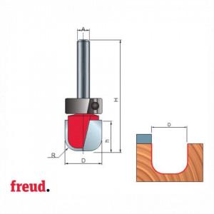 Freza cilindro-frontala cu profil cupa, cu rulment superior, placata CMS, Z2, cu coada - 19-