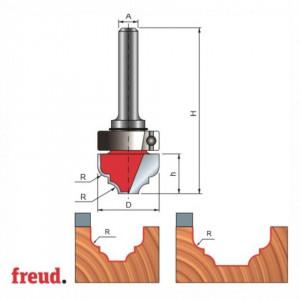 Freza cilindro frontala profilata concav convex cu tesire intre ele, cu rulment copier superior, placata CMS, Z2, cu coada - 39-538