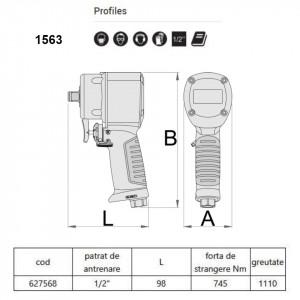 """Pistol pneumatic reversibil varianta Stubby 1/2"""" - 1563"""