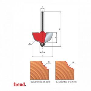 Freza cu coada, profilata convex 1/2C cu tesire, placata CMS, cu rulment copier inferior - 30-