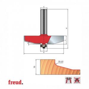Freza pentru tablii, profil drept cu unghiuri rotunjite, placata CMS Z2, cu coada si rulment copier inferior - 99-22412P