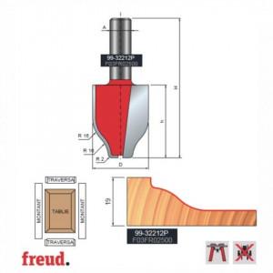 Freza pentru tablii, profil sinusoidal vertical, placata CMS Z2, cu coada si rulment copier inferior - 99-32212P