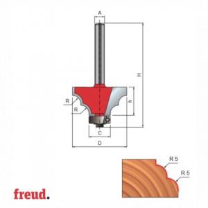 Freza profilata concav concav, cu rulment copier inferior, placata CMS, Z2, cu coada - 38-