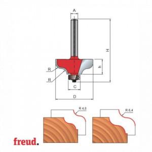 Freza profilata sinusoidal, cu tesire jos, cu rulment copier inferior, placata CMS, Z2, cu coada - 38-