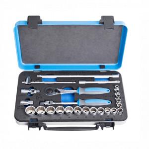 """Set capete chei tubulare si accesorii 3/8"""" in cutie metalica - 239A12P24"""