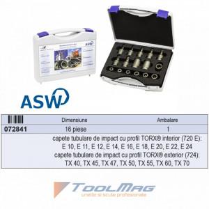 "Trusa capete chei tubulare cu profil TORX® exterior/interior de impact 1/2"" - 720 E/TX 16"