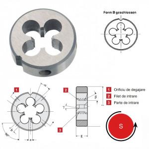 Filiera forma B, filet pentru tevi de gaz HSS (BSP) ISO DIN 228 (DIN EN 24231) filet pe stanga