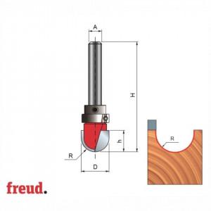 Freza cilindro-frontala profilata convex 1/2C, cu rulment superior, placata CMS, Z2, cu coada - 18-