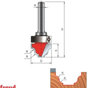 Freza cilindro frontala profilata sinusoidal, cu tesire sus, cu rulment copier superior, placata CMS, Z2, cu coada - 39-