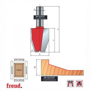 Freza pentru tablii, profil drept vertical, placata CMS Z2, cu coada si rulment copier inferior - 99-32312P