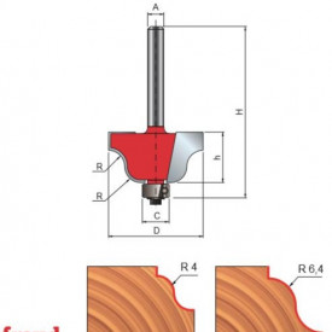 Freza profilata sinusoidal, cu tesire sus, cu rulment copier inferior, placata CMS, Z2, cu coada - 38-