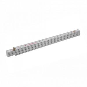 Metru lemn fag 1 m imbinari din plastic si nituri vizibile otel, culoare alb - Block 71 W