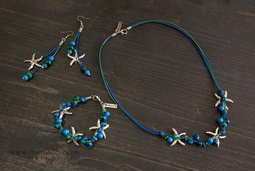 Комплект Морски звезди - дамско колие, гривна и обеци изображения