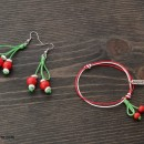 Martenitsa bracelet and earrings set Cherries