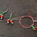 Martenitsa bracelet and earrings set Cherries