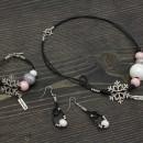 Women's Bracelet, Necklace & Earrings Set - Snowballs